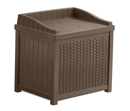 The deck box has a low storage capacity.
