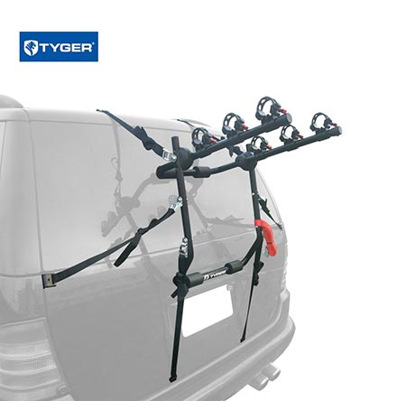 5. TYGER Deluxe Black 3-Bike Trunk Mount Bicycle Carrier Rack.