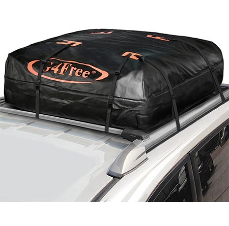 2 G4Free 18.5 Cubic Feet Waterproof Car Top Carrier, Easy to Install Soft Roof Top Cargo Bag