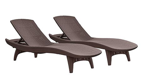 2 Keter Pacific 2-Pack Patio Chaise Lounge