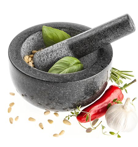 6 Savisto Premium Solid Granite Pestle and Mortar - Large 15.5cm Diameter