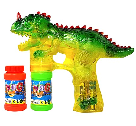 3 Haktoys 1900D Dinosaur Bubble Gun Shooter Blower Machine with LED Lights, Batteries, and Extra Bottle Refill