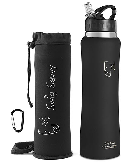 4 Swig Savvy's Stainless Steel Insulated Water Bottle Wide Mouth 24oz / 32oz