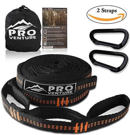 7 Pro Hammock Tree Hanging Straps (Set of 2) w/ CARABINERS