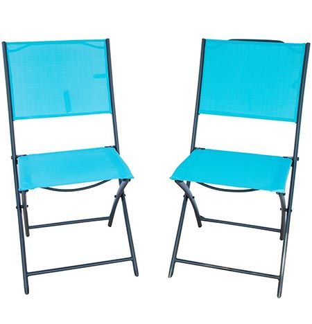 3 PatioPost Sling Outdoor Chair 2-Pack Sling Textilene Mesh Fabric Iron Folding Armless Chair, Blue