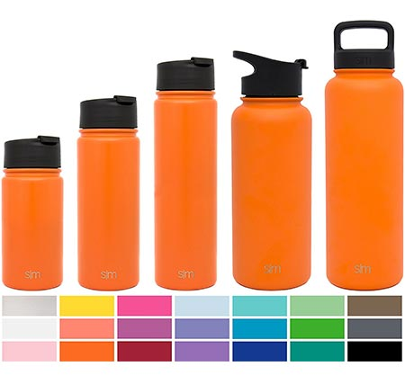 6 Simple Modern Summit Water Bottle + Extra Lid - Vacuum Insulated 18/8 Stainless Steel