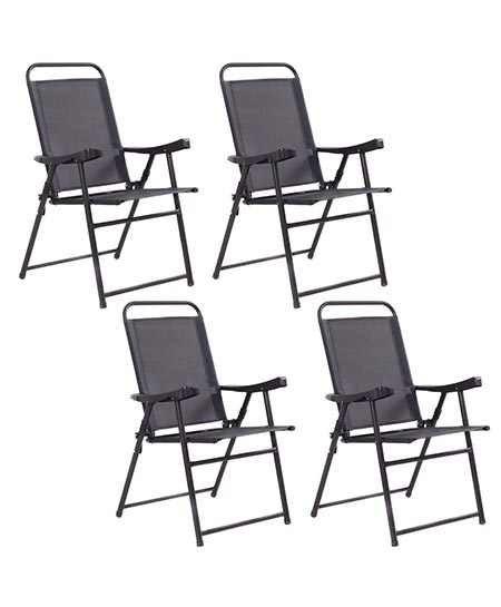 2 Giantex Set Of 4 Folding Sling Chairs Patio Furniture Camping Pool Beach