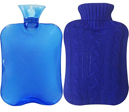 2 Attmu Classic Rubber Transparent Hot Water Bottle 2 Liter with Knit Cover - Blue