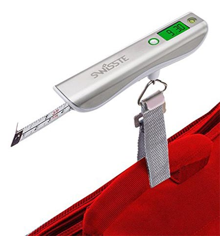 9 Luggage Scale w/ Tape Measure, 110 lbs w/ FREE AAA batteries, Best for Travel