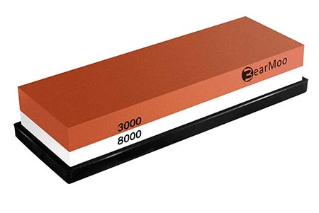 4 BearMoo Whetstone 2-IN-1 Sharpening Stone 3000/8000 Grit Waterstone, Knife Sharpener Rubber Stone Holder Included