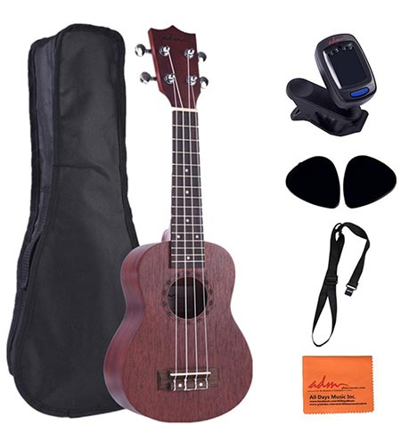 10. ADM Mahogany Soprano 21 Inch Ukulele Beginner Kit with Gig Bag, E-tuner, Strap and Picks
