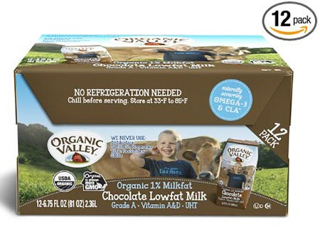 3. Organic Valley and Organic Milk Boxes with 1% of Low Fat Milk Chocolate of 6.75 Ounces