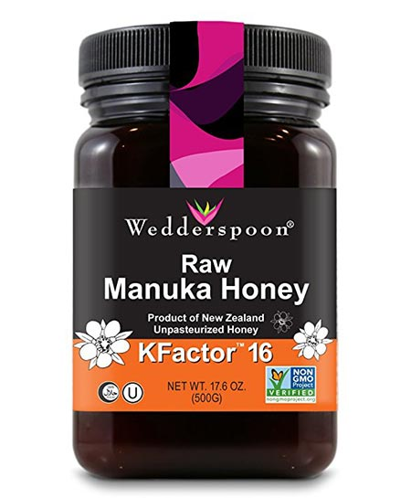 3. Wedderspoon Premium Raw Manuka Honey of KFactor 16+