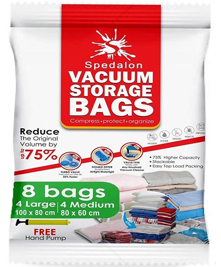 5. Vacuum Storage Bags – Pack of 8 – 4 Large + 4 Medium