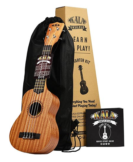 6. Kala Learn To Play Ukulele Starter Kit, Light Mahogany Stain