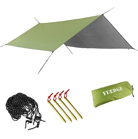 4. YUEDGE Portable Lightweight Waterproof Rain Tarp