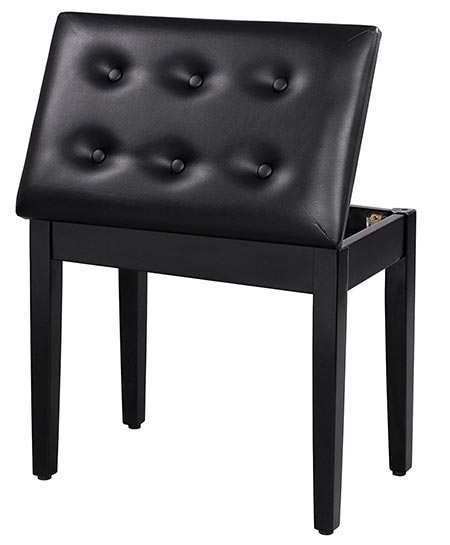 2 SONGMICS Padded Wooden Piano Bench Stool with Music Storage Black ULPB55H