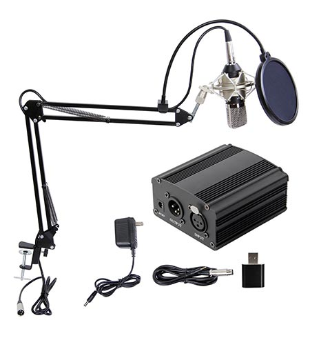 4. TONOR Professional Condenser Microphone with 48V Phantom Power Supply Black