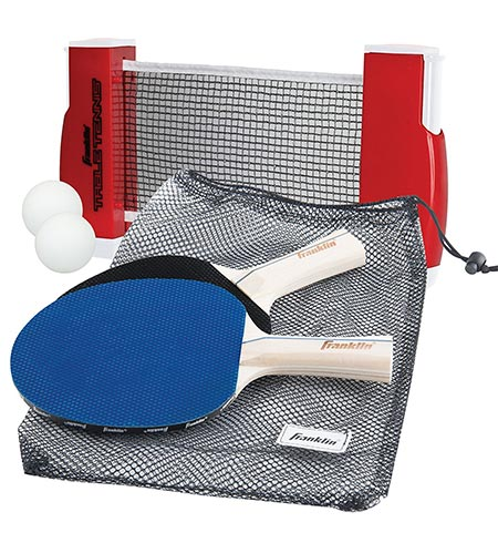 2 Franklin Sports Table Tennis to Go- Includes 2 Ping Pong Paddles, Balls, Net Set, and Mesh Carry Bag