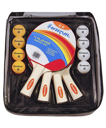 6 4- Player Table Tennis Racket and Ball Set with Nylon Carrying Bag. It includes 4 Rackets and 8 Balls by Harvil