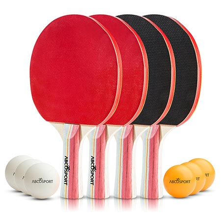 1 Abco Table Tennis Set- Table Tennis Set-Pack of 4 Premium Paddles/Rackets and 6 Table Tennis Balls