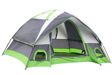 3 SEMOO Water Resistant D- Style Door, 4-Person Camping/Travelling Family Dome Tent with Carrying Bag
