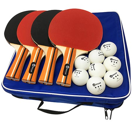 5 4 Pack Pro Ping Pong Paddle Set- 4 Premium Table Tennis Rackets- 8 Balls- Professional Game- Practice Training.