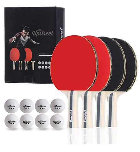 4 The Up street Box Set: 4 Ping Pong Paddles with 3 Star Ping Pong Balls for Table Tennis