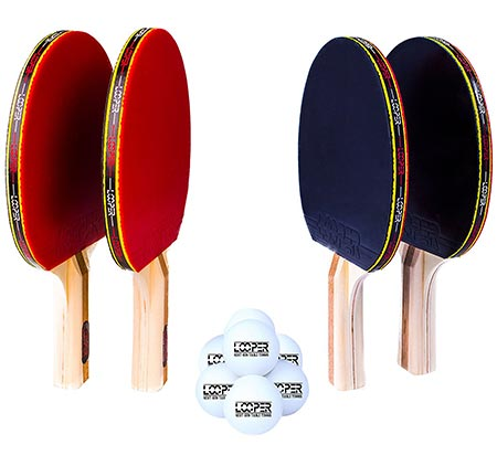 9 Looper Premium 4 Paddle 8 Ball Ping Pong Set & Easy-Store Case|6 Star Table Tennis Racket