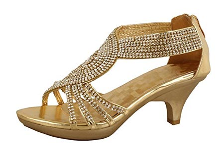 2 JJF Shoes Delicacy Angel-62 Womens Strappy Rhinestone Dress Sandal Low Heel Shoes