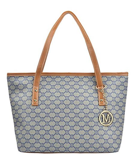 1e2182c3df Micom Casual Signature Printing PU Leather Tote Shoulder Handbag with Metal  Decoration for Women.
