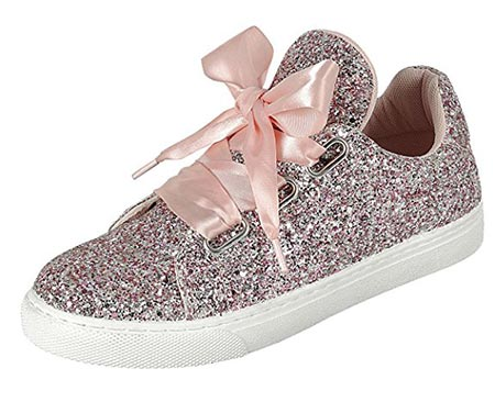 d2ac9e0669e7e 10 Forever Link Womens Round Toe Ribbon Bow Lace Up Glitter Fitness Gym  Trainer Fashion Sneakers