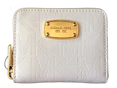 4Michael Kors White Mirror PVC Zip around Bifold Wallet