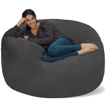 2 Chill Sack Bean Bag Chair: Giant 5' Memory Foam Furniture Bean Bag - Big Sofa with Soft Micro Fiber Cover - Charcoal