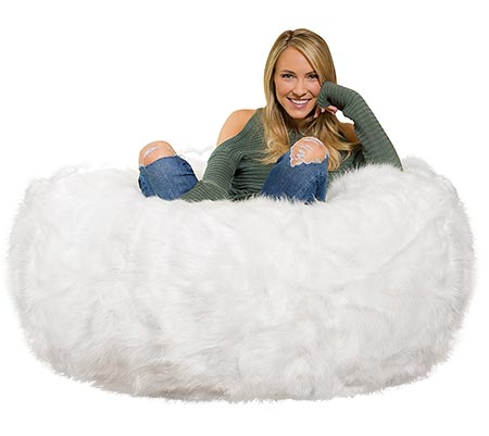 7 Comfy Sacks 4 Ft Memory Foam Bean Bag Chair, White Furry