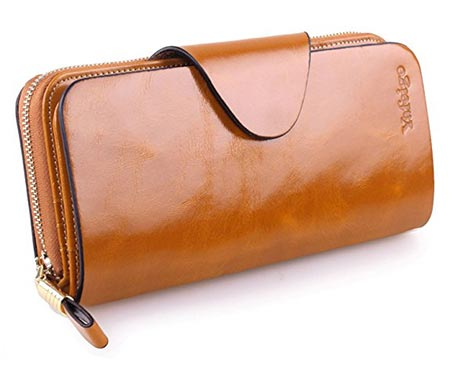 8 Yafeige Large Luxury Women's RFID Blocking Trifold Leather Wallet Zipper Ladies Clutch Purse