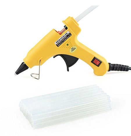 10 20W Mini Hot Melt Glue Gun Kit with 30pcs Hot Glue Sticks, Holding Stand, and Scald-proof Rubber Nozzle Case, 100-240V (Version 2)