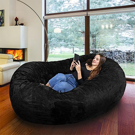6 Gigantic Bean Bag Chair in Limo Black with Memory Foam Filling and Machine Washable Velour Cover- Comfortable Cozy Lounge Sack to Chill - Huge Bed, Large Sofa, Cozy Lounger - Kids, Adults & Teens