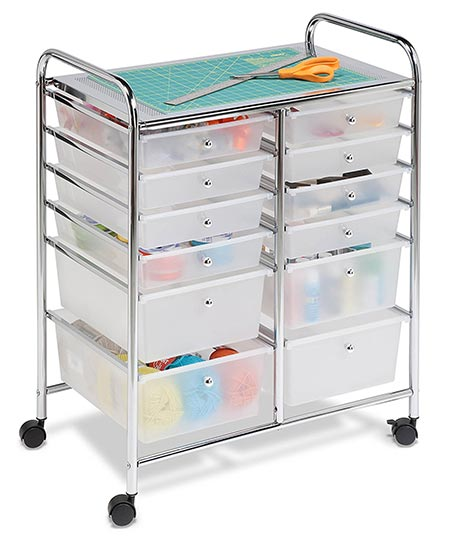 4. Honey-Can-Do Rolling Storage Cart and Organizer with 12 Plastic Drawers