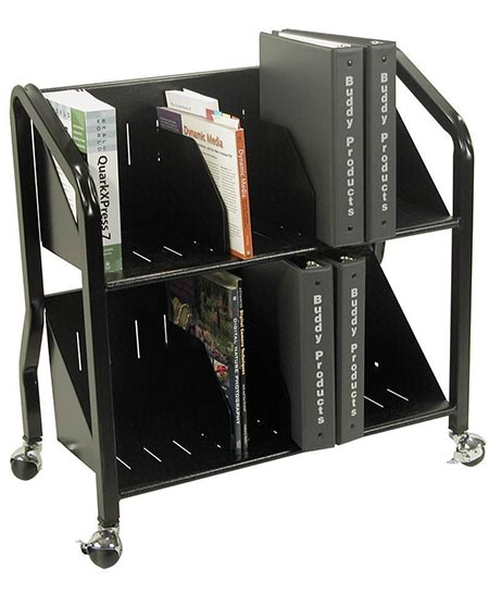 4 Buddy Products Two-Shelf Sloped Book Cart with Dividers, 15 x 27 x 29 Inches, Black (5413-4)