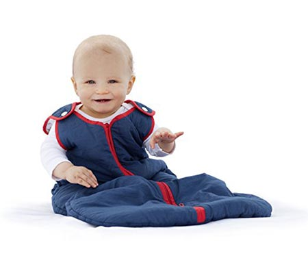 3 Baby deedee Sleep Nest Brand Sleeping Sack, Winter Wearable Blanket, Navy Red, Boys & Girls, Medium