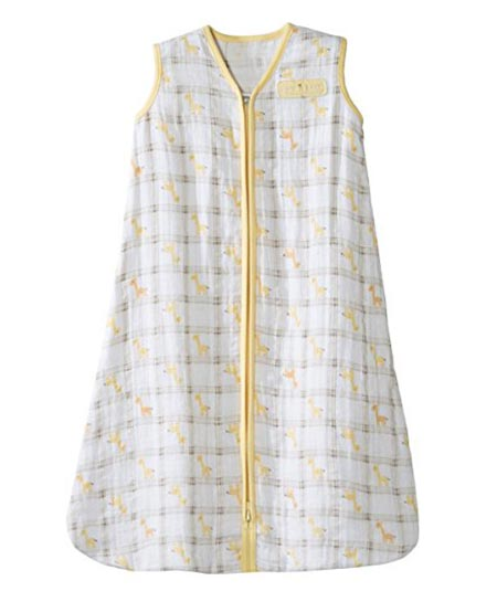 2 HALO 100% Cotton Muslin Sleepsack Wearable Blanket, Giraffe Plaid, Medium