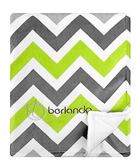 6 Berlando Signature Edition Chevron Baby Blanket, 100% Polyester, Green and Gray