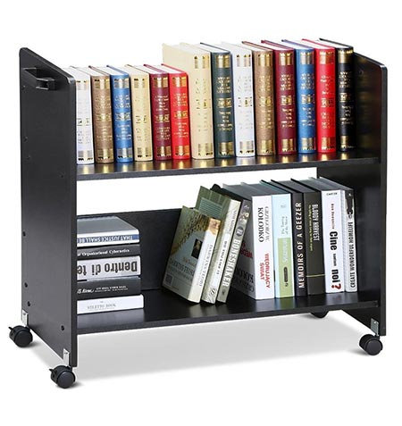 6 go2buyMovable Library Cart Welded Bookcase Rolling Book Storage Rack Trolley Black.