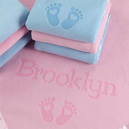 2 PERSONALIZED NEWBORN GIFTS FOR BABY GIRLS, BOYS, OR PARENTS - (36 x 36 inch) Satin Trim Custom Blanket with Name Plus Hearts and Feet Design - Add Birth Date, Weight (Pink, Blue)