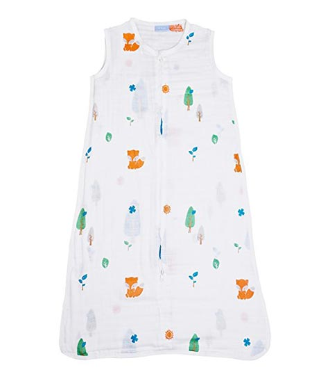 8 1st Laugh 100% Cotton Muslin Baby Sleeping Sack Bag, Forest L, for Boy and Girl