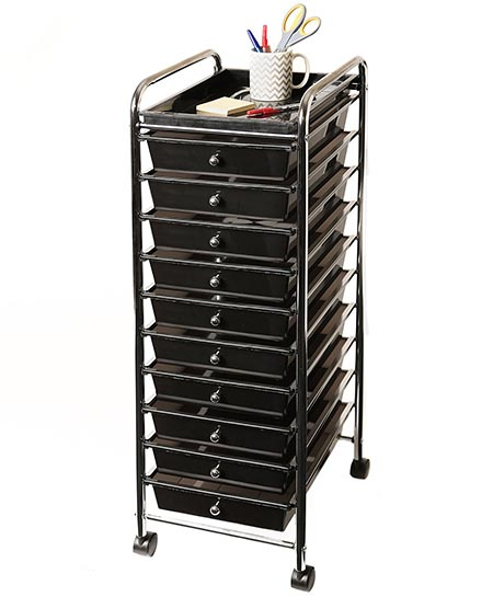 1 Seville Classics 10-Drawer Organizer Cart with Tray, Blac