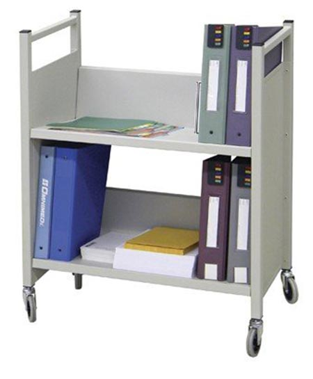 8 Heavy Duty 2 Tier Welded Steel Side Sloped Book & File Folder Cart