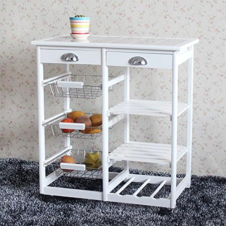 10. Teekland Wood Rolling Kitchen Storage Cart Trolley with Two Drawers/One Wine Rack (White)