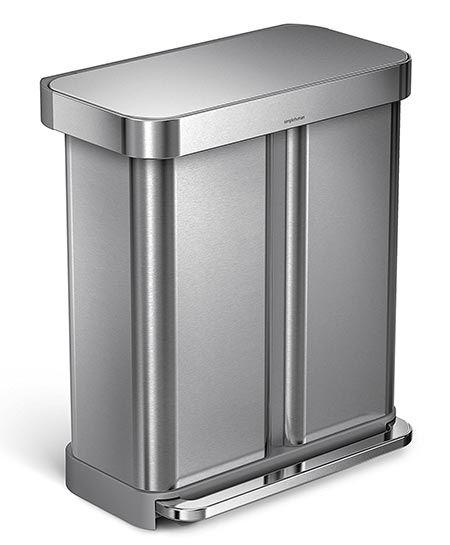 3. simplehuman 58 Liter/15.3 Gallon Stainless Steel Trash Can